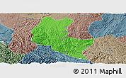 Political Panoramic Map of Ziyun, semi-desaturated