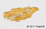Political Shades Panoramic Map of Hainan, cropped outside