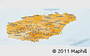 Political Shades Panoramic Map of Hainan, lighten