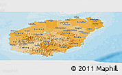 Political Shades Panoramic Map of Hainan, single color outside
