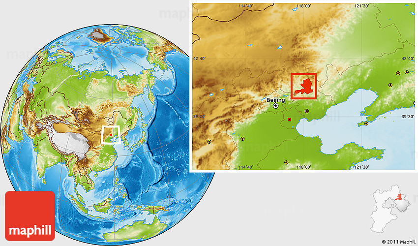 Physical Location Map Of Chengde - Chengde map