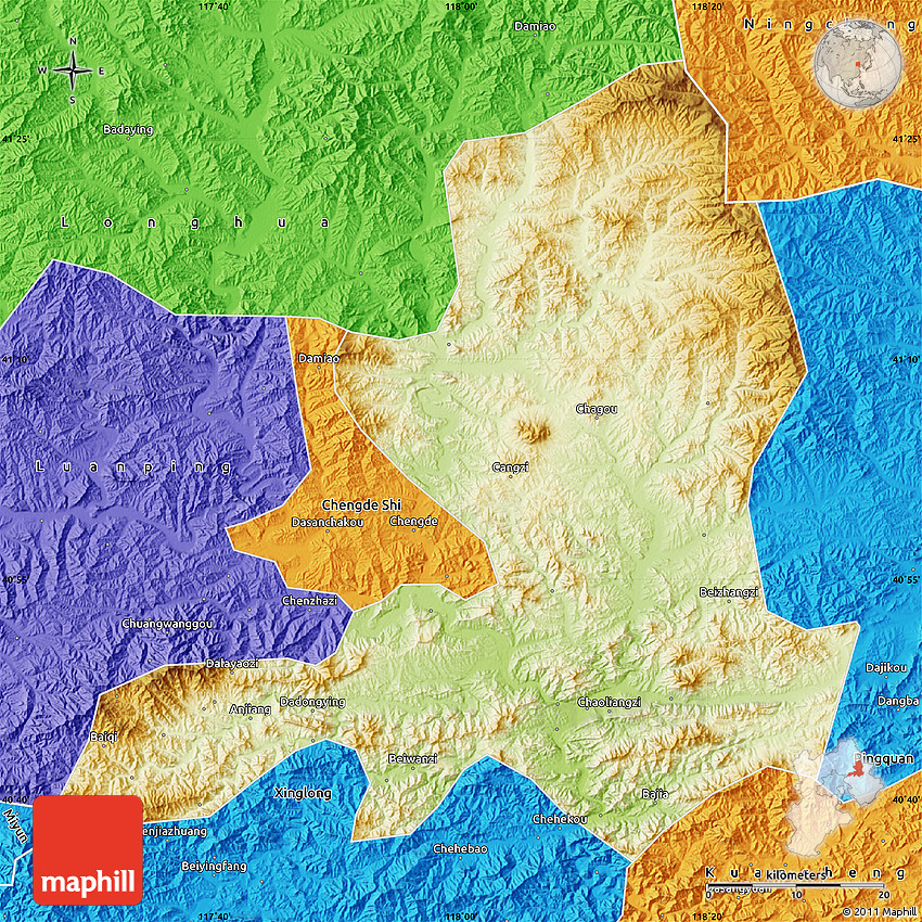 Physical Map Of Chengde Political Outside - Chengde map