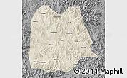 Shaded Relief Map of Chicheng, darken, desaturated