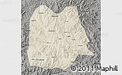 Shaded Relief Map of Chicheng, darken, semi-desaturated