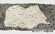 Shaded Relief Panoramic Map of Chicheng, darken