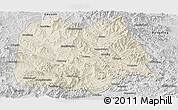 Shaded Relief Panoramic Map of Chicheng, desaturated