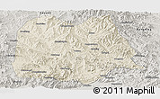 Shaded Relief Panoramic Map of Chicheng, semi-desaturated