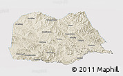 Shaded Relief Panoramic Map of Chicheng, single color outside
