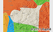 Shaded Relief Map of Chongli, political outside