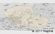 Shaded Relief Panoramic Map of Fengning, desaturated