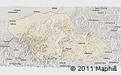 Shaded Relief Panoramic Map of Fengning, semi-desaturated