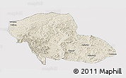 Shaded Relief Panoramic Map of Fengning, single color outside