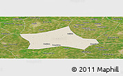 Shaded Relief Panoramic Map of Hejian, satellite outside
