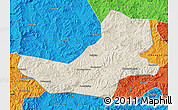 Shaded Relief Map of Luanping, political outside