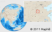 Shaded Relief Location Map of Nanhe