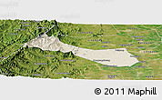 Shaded Relief Panoramic Map of Neiqiu, satellite outside