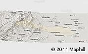 Shaded Relief Panoramic Map of Neiqiu, semi-desaturated
