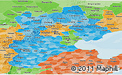 Political Shades Panoramic Map of Hebei