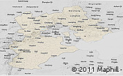 Shaded Relief Panoramic Map of Hebei, desaturated