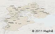 Shaded Relief Panoramic Map of Hebei, lighten