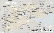 Shaded Relief Panoramic Map of Hebei, semi-desaturated