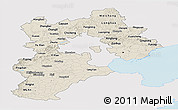 Shaded Relief Panoramic Map of Hebei, single color outside