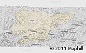 Shaded Relief Panoramic Map of Pingquan, desaturated