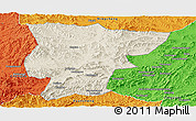 Shaded Relief Panoramic Map of Pingquan, political outside