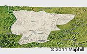 Shaded Relief Panoramic Map of Pingquan, satellite outside