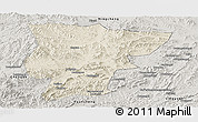 Shaded Relief Panoramic Map of Pingquan, semi-desaturated