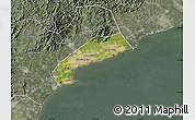Satellite Map of Qinhuangdao Shi, semi-desaturated