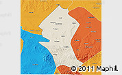 Shaded Relief 3D Map of Shangyi, political outside