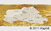 Shaded Relief Panoramic Map of Weichang, physical outside