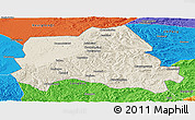 Shaded Relief Panoramic Map of Weichang, political outside