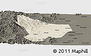 Shaded Relief Panoramic Map of Wu An, darken