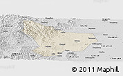 Shaded Relief Panoramic Map of Wu An, desaturated