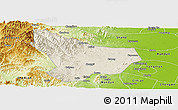 Shaded Relief Panoramic Map of Wu An, physical outside