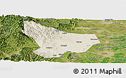 Shaded Relief Panoramic Map of Wu An, satellite outside
