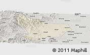 Shaded Relief Panoramic Map of Wu An, semi-desaturated
