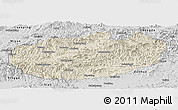 Shaded Relief Panoramic Map of Xinglong, desaturated