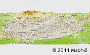 Shaded Relief Panoramic Map of Xinglong, physical outside