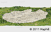 Shaded Relief Panoramic Map of Xinglong, satellite outside