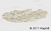 Shaded Relief Panoramic Map of Xinglong, single color outside
