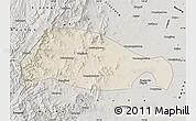 Shaded Relief Map of Xingtai, semi-desaturated