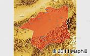 Political Map of Yu Xian, physical outside