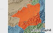 Political Map of Yu Xian, semi-desaturated