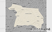 Shaded Relief Map of Beian, darken, desaturated