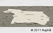 Shaded Relief Panoramic Map of Beian, darken