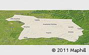 Shaded Relief Panoramic Map of Beian, satellite outside