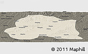 Shaded Relief Panoramic Map of Dedu, darken